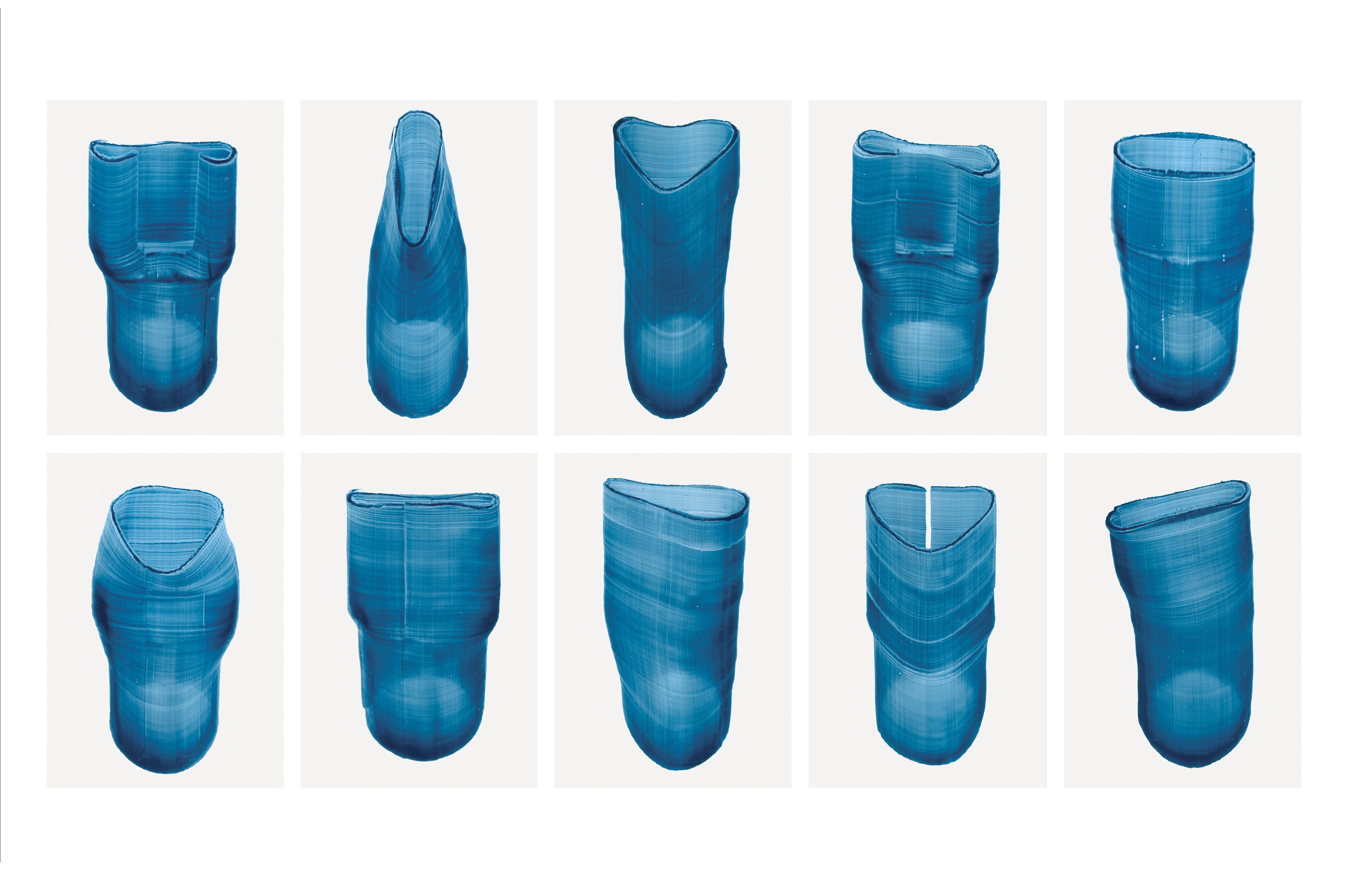Baptiste Meyniel, Dessins balayés, déformations de cylindres, recherches pour le CIRVA, 2019.